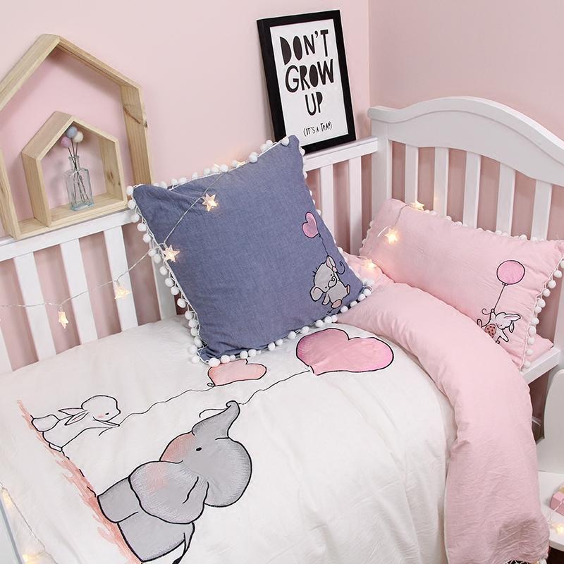 卡通纯棉婴儿床品四件套男女宝宝幼儿园可爱儿童水洗棉床单被罩