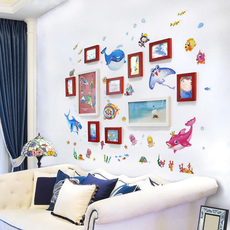 客厅装饰实木相框 卡通海洋鱼10框照片墙卧室墙壁布置