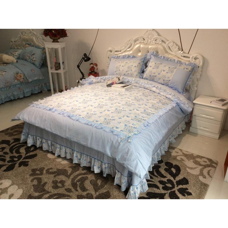 韩版田园碎花荷叶边公主可爱甜美粉色纯棉四件套双人床1.5床套件