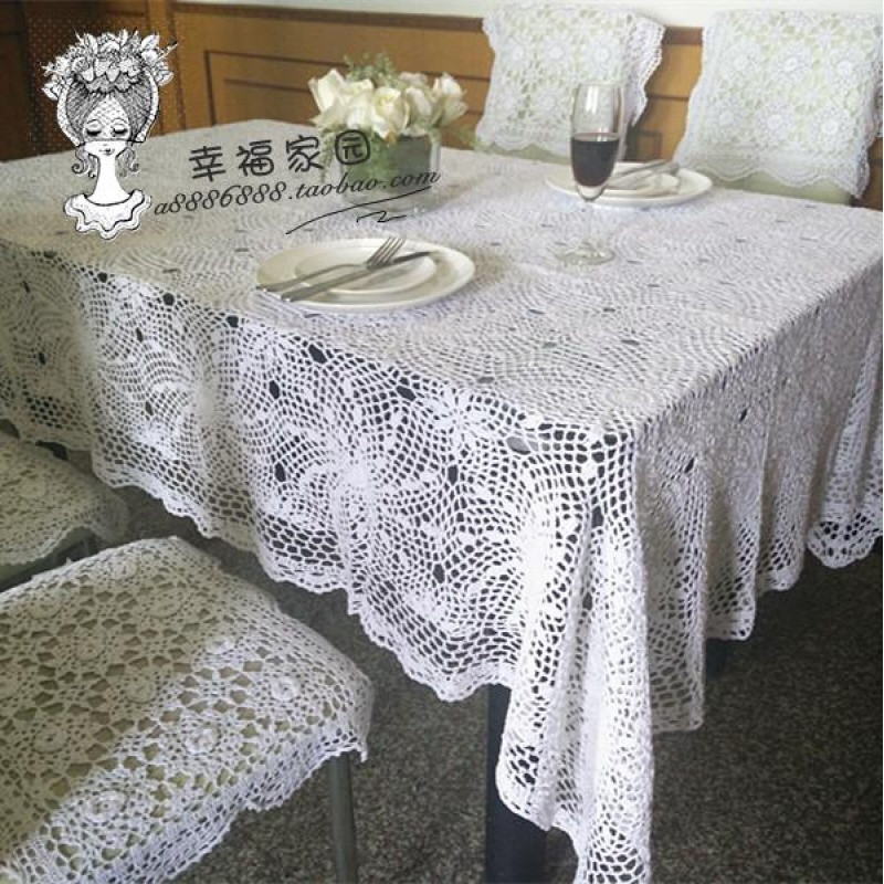 温暖手工白色纯棉手工钩针德国原单长方桌布/茶几桌布