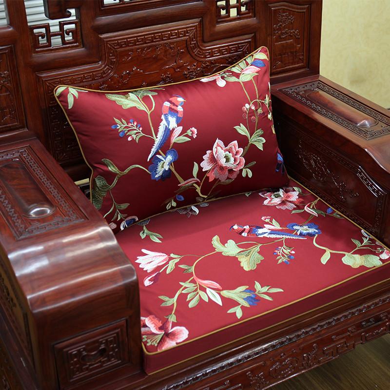新中式红木沙发垫花鸟坐垫实木家具圈椅垫冬季加厚海绵座靠垫定做图片