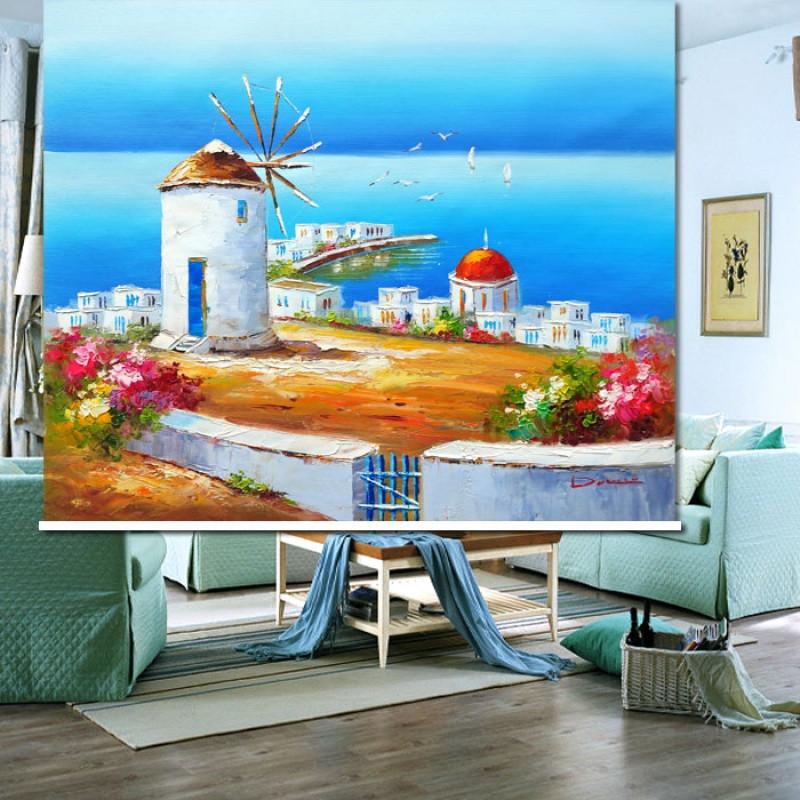 地中海风格卷帘 油画窗帘 风景挂画 房间门帘 玄关隔断