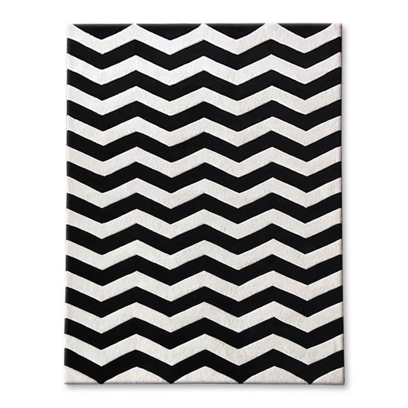 新款2018北欧风格时尚黑白客厅卧室家居装饰地毯手工腈纶加厚加密床边
