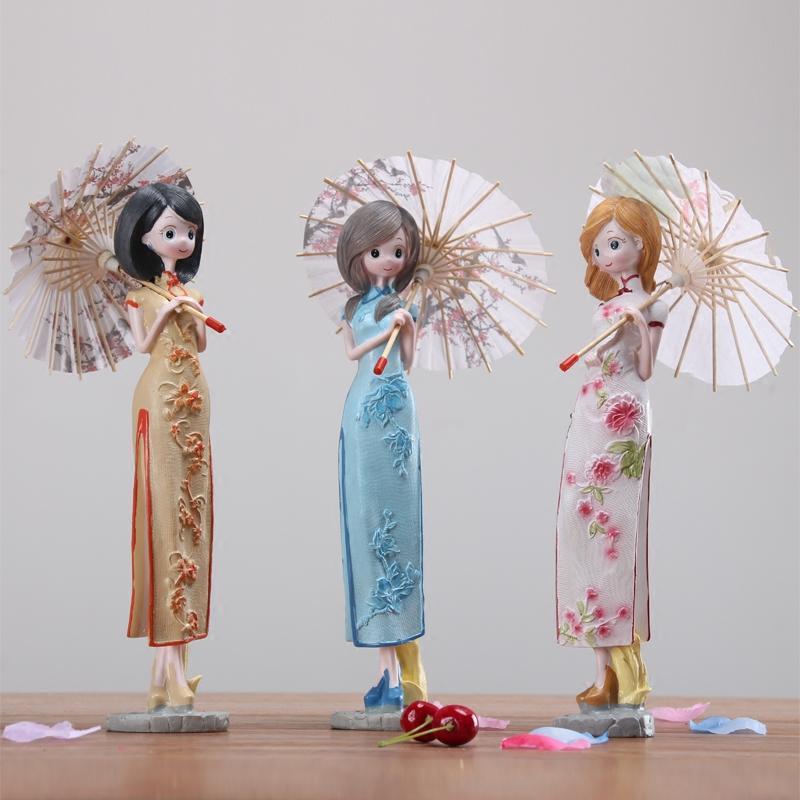 新款2018创意家居装饰品中式旗袍姑娘树脂摆件酒柜电视柜人物工艺品小