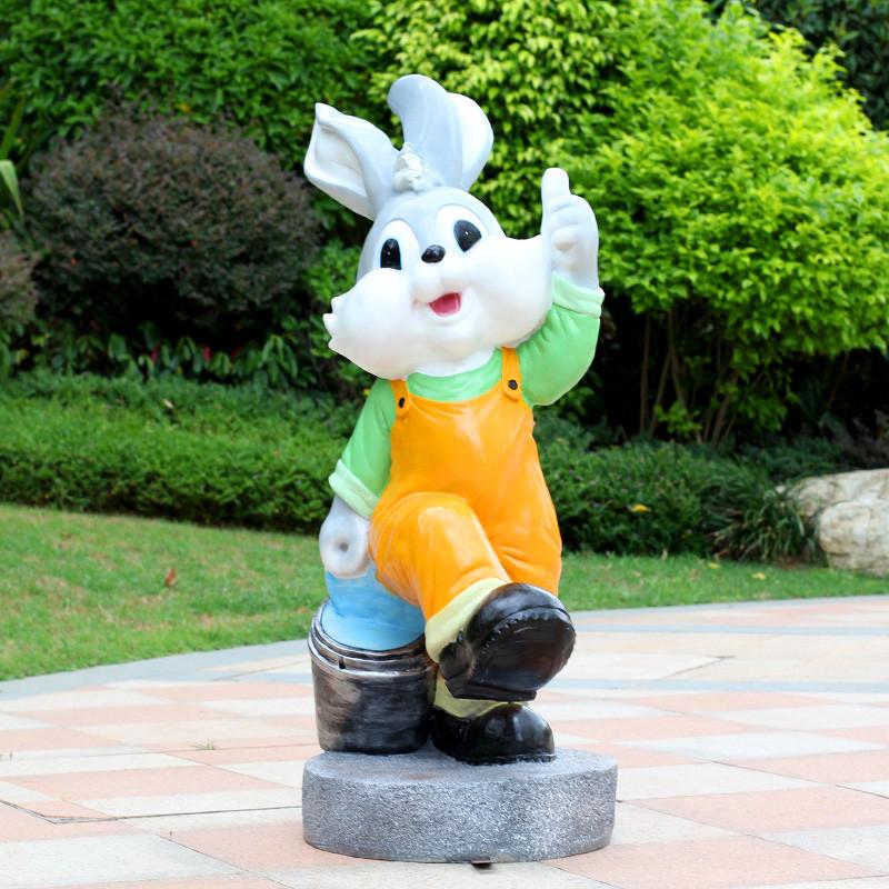 新款2018金传承仿真动物兔子雕塑摆件园林摆设花园庭院景观幼儿园装饰