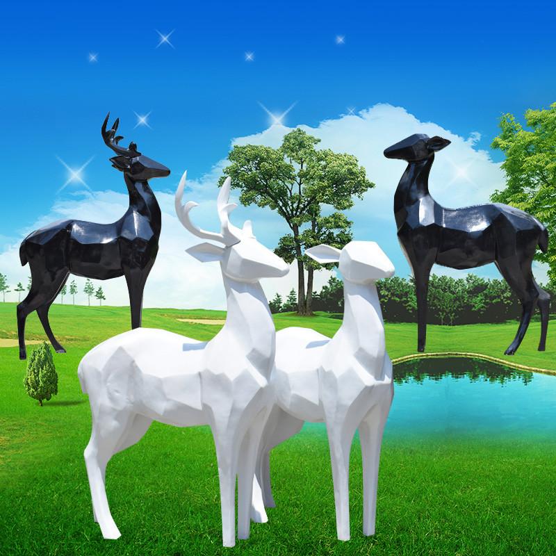 新款2018花园庭院仿真动物几何鹿摆件抽象鹿雕塑麋鹿园林景观玻璃钢装
