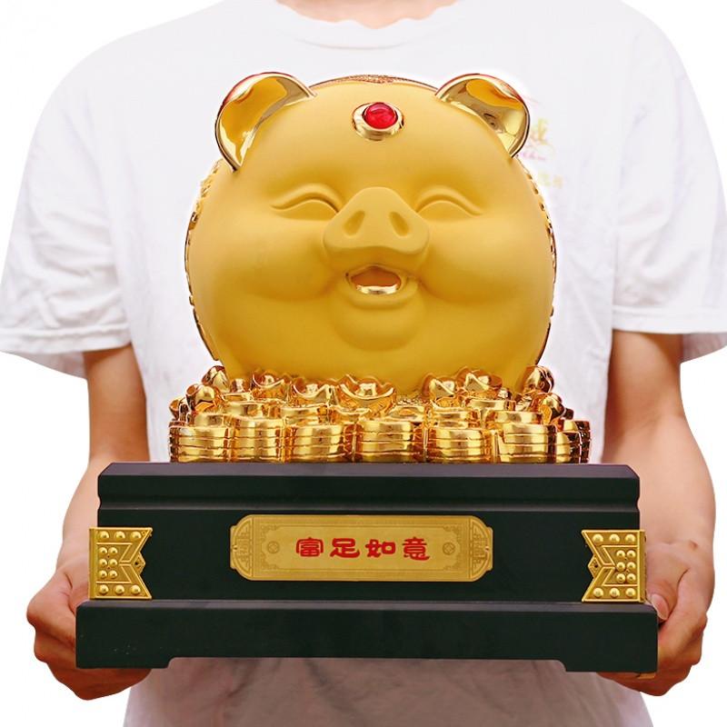 新款特价可爱招财猪存钱罐储蓄罐生肖摆件金猪工艺品创意酒电视柜生日