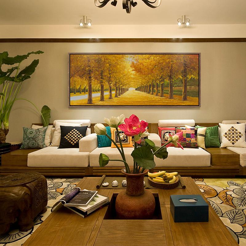 新款2018客厅沙发背景墙装饰风水招财山水画横款挂画壁画万里长城画靠