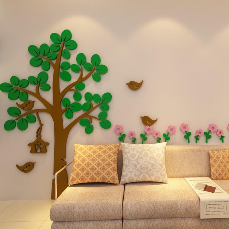 新款2018卡通大树亚克力3d立体墙儿童房客厅卧室幼儿园墙面上装饰壁画