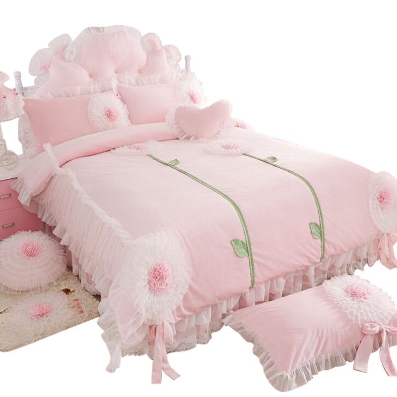新款2018韩版加厚床上用品公主可爱花朵冬季保暖天鹅绒婚庆短绒毛四