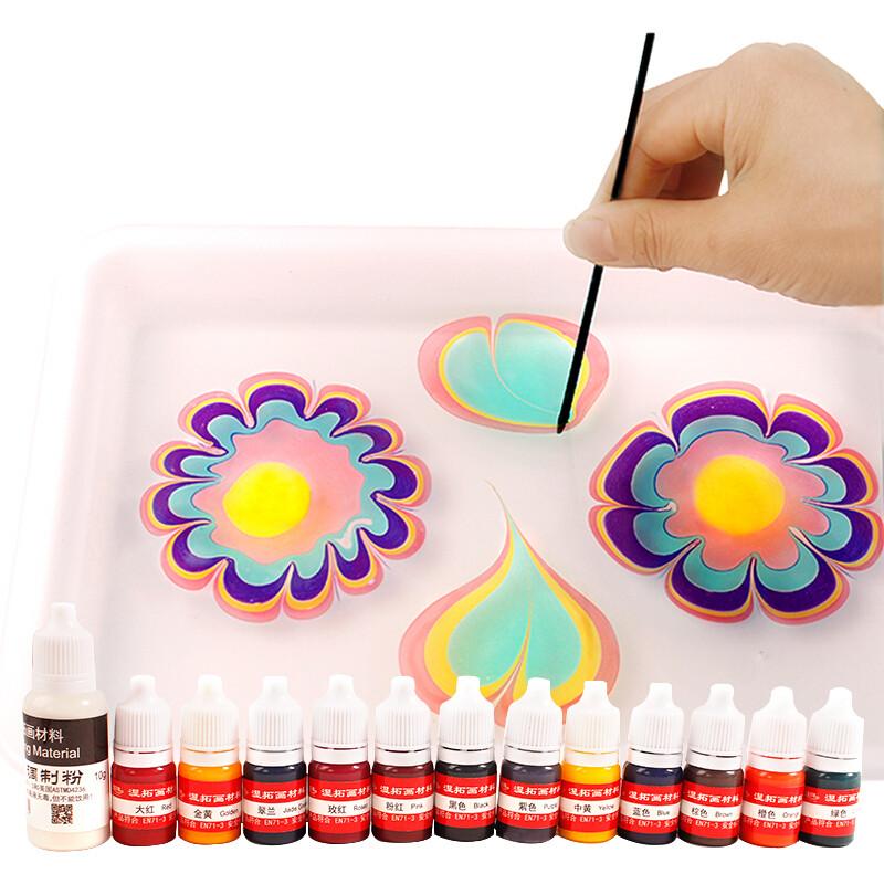 湿拓画套装浮水画水影画工具材料儿童颜料画画涂鸦水拓画图片