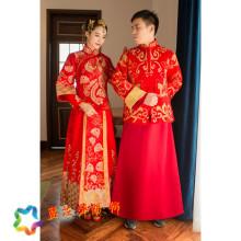 黄晓明baby同款秀禾服新郎新娘敬酒中式结婚旗袍龙凤褂情侣男女装图片