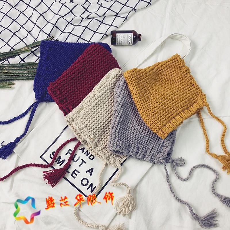 韩版秋冬可爱长带子毛线帽休闲百搭针织帽色学生套头帽子潮人女