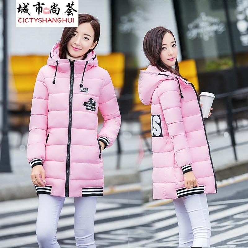 女装尚荟2017冬新款版画中长款高中修身显瘦城市棉衣地理图片