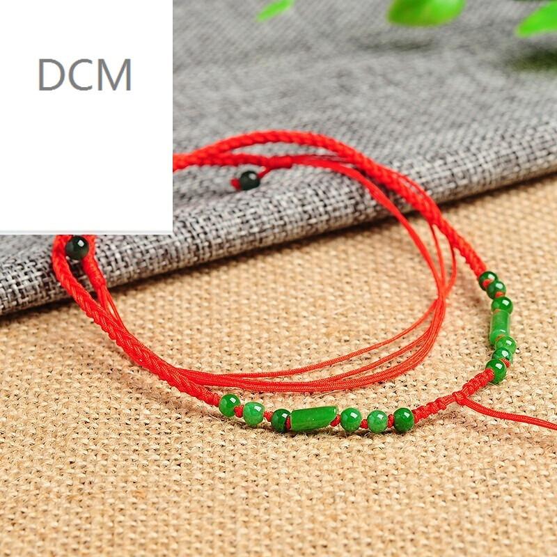 dcm手工编织绿色珠子管珠挂绳 饰品男女款吊坠绳子可伸缩