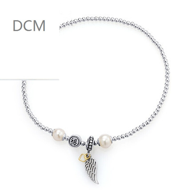 dcm手工95银 羽毛脚链 淡水珍珠银珠串饰女生礼物