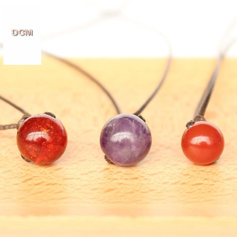 澜沧金沙琉璃珠子手工编绳项链原创可调节创意极简约情侣吊坠女