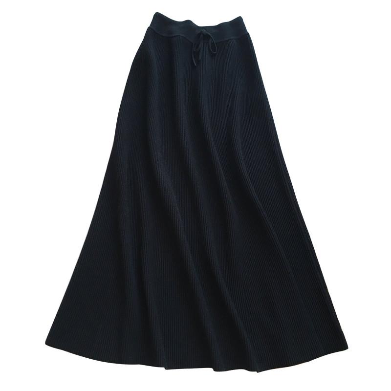 新款2017新款黑色高腰针织长裙秋冬半身裙中长款a字裙