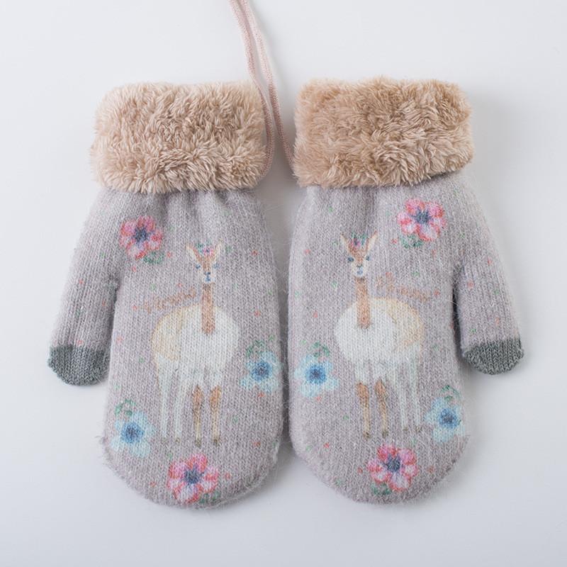 新款手套冬季女可爱韩版卡通日系挂脖毛线 棉手套女士