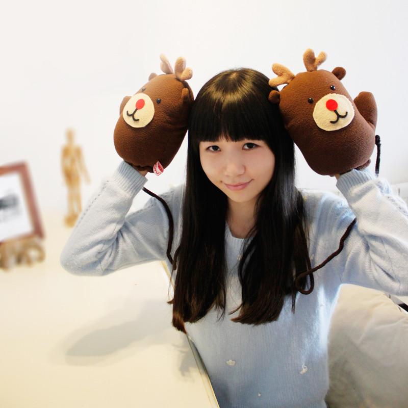 新款手套女冬可爱韩版卡通萌甜美学生挂脖全指百搭男冬天加厚加绒保暖