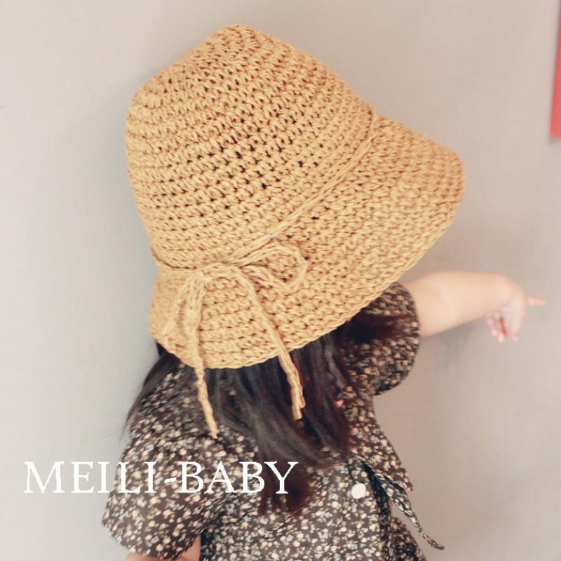 韩版儿童草帽女童沙滩帽子宝宝遮阳渔夫帽春夏海边手工编织亲子帽