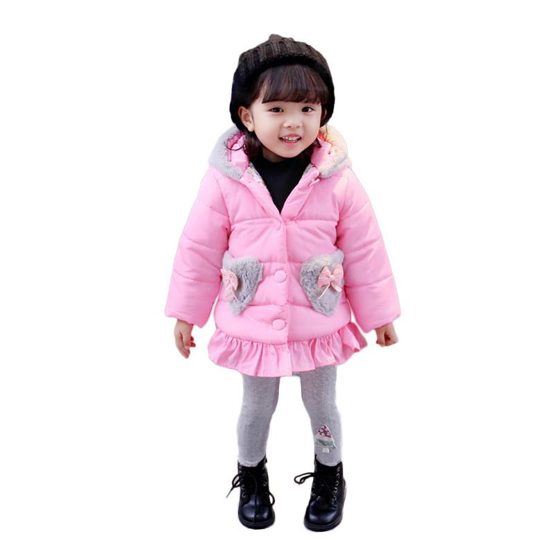促销女童棉服2017新款冬季连帽加厚棉袄小女孩可爱外套儿童棉衣中长款