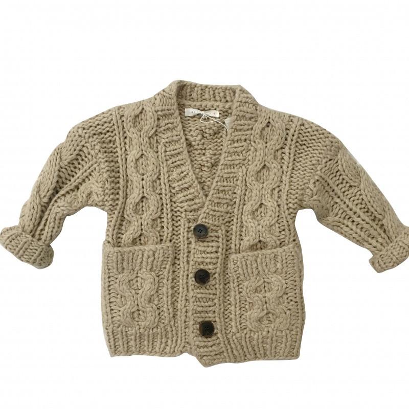 促销leobaby韩国童装女宝宝粗棒针编织v领开衫毛衣甜美气质针织上衣