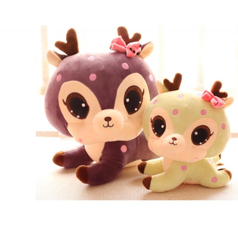 v汽车萌可爱梅花鹿毛绒玩具大汽车车轮公仔布娃娃儿童玩具眼睛小鹿怎么安装图片