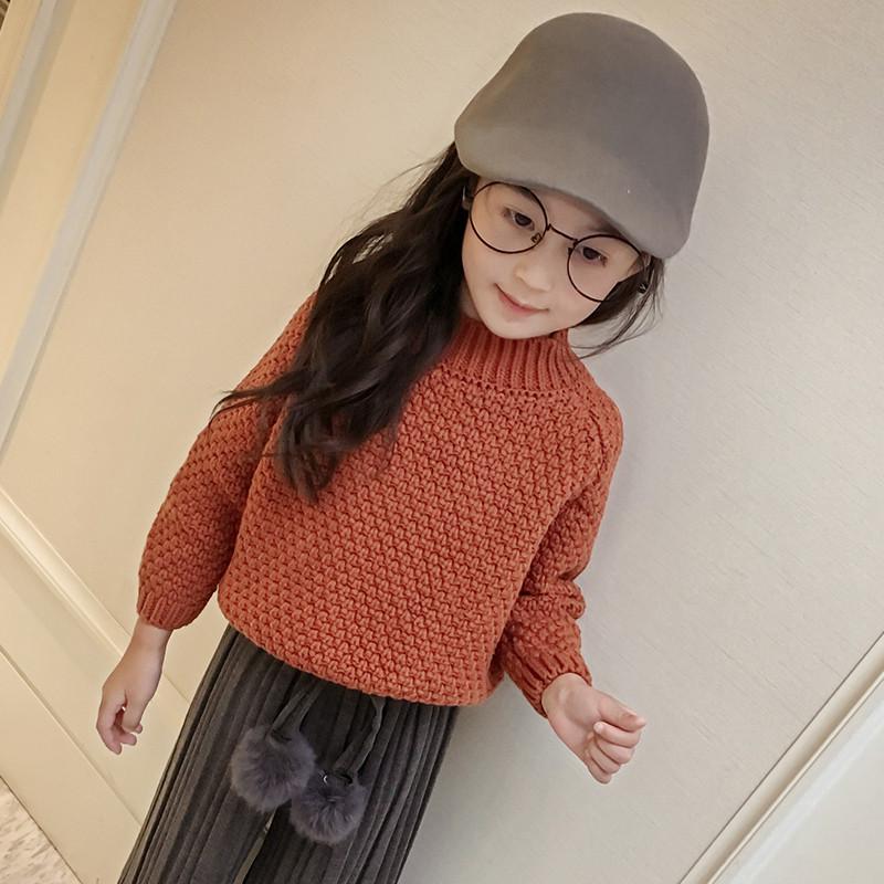 促销女童针织毛衣2017秋冬季童装儿童长袖套头毛线衣中大童纯色编织衫