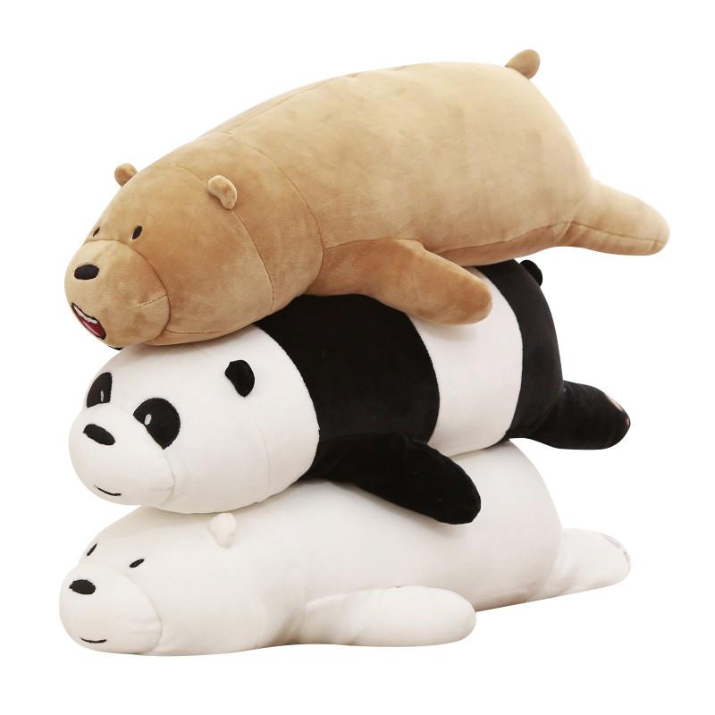 促销可爱咱们裸熊趴趴熊毛绒玩具熊猫公仔布娃娃玩偶抱枕睡觉长条枕头