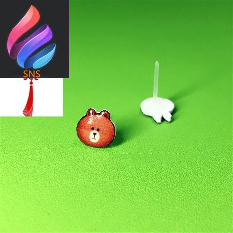 耳钉可爱卡通小熊兔子不对称手绘热缩片银耳针耳环磁铁无耳洞耳饰
