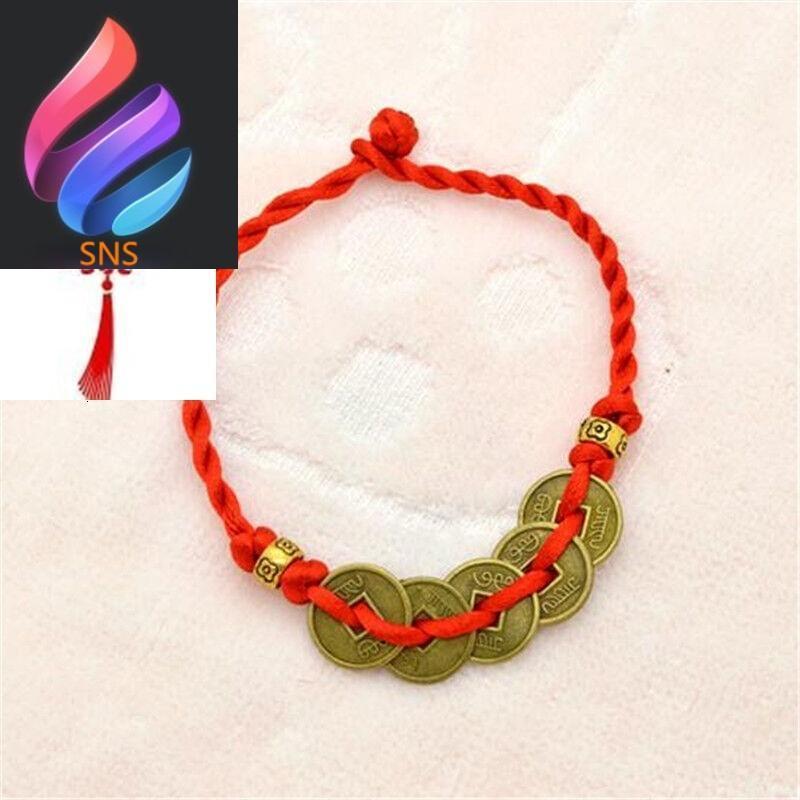 手工编织古风铜钱古币情侣装饰红绳手链脚链女