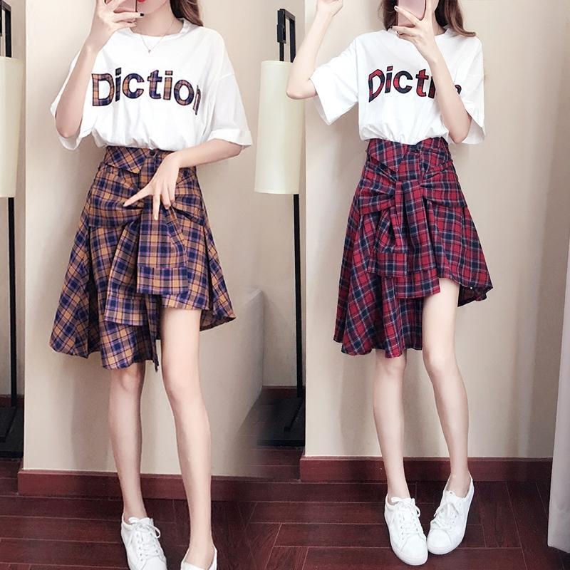 2018格子连衣裙女夏季2018新款韩版学生显瘦洋气学院风两件套装裙子潮