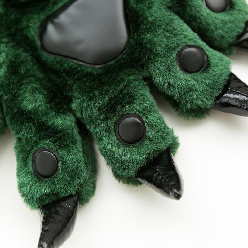 2018可爱爪子手套睡衣配套卡通动物恐龙爪子鞋保暖毛绒五指男女情侣款