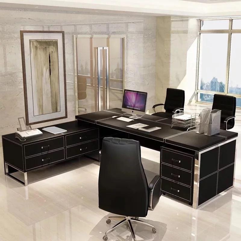 办公家具老板桌总裁桌简约现代大气班台时尚经理主管办公桌椅组合图片