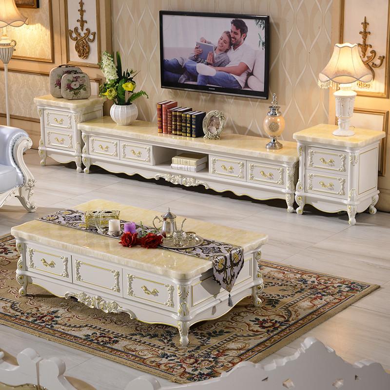 欧式大理石电视柜茶几组合 客厅卧室橡木雕花简欧实木图片