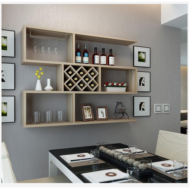 酒柜1.2米黑胡桃悬挂置物架墙壁装饰架 创意菱形红酒格包邮图片