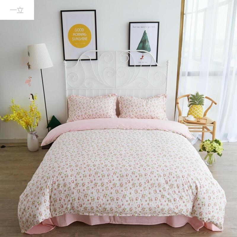 一立田园风小碎花清新纯棉床品床上用品床单床裙三件四件套