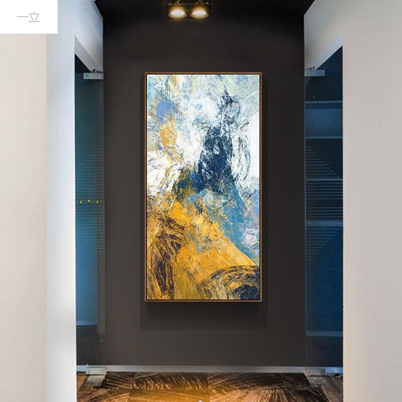 一立迷幻线彩北欧玄关装饰画抽象走廊过道挂画现代餐厅书房壁画竖幅a图片
