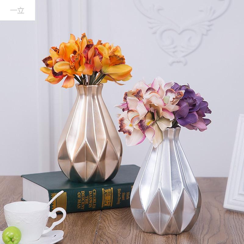 一立新款特价现代简约陶瓷花瓶创意北欧式插干花花器美式客厅家居电视