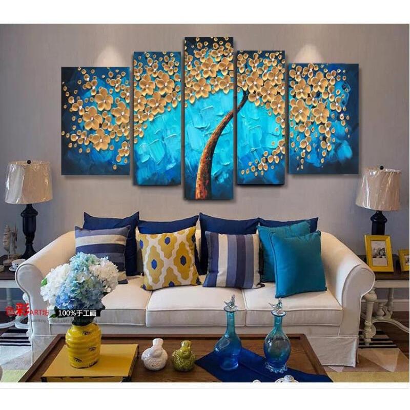 客厅挂画沙发背景墙装饰画手绘油画现代壁画五联无框3d立体发财树