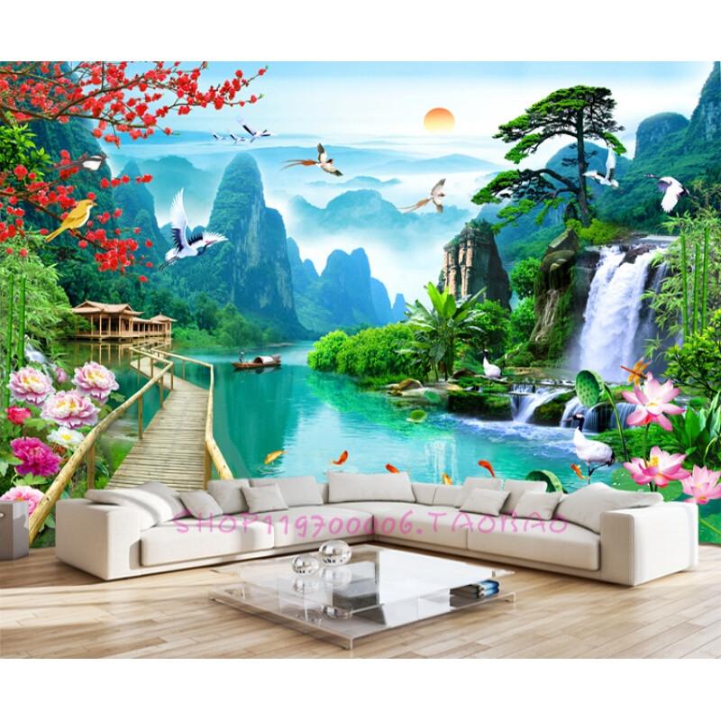 3d立体空间山水风景电视背景墙贴墙纸宾馆客厅无缝壁画流水生财