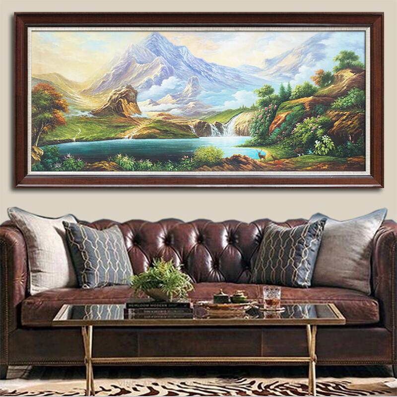 纯手绘欧式风景油画聚宝盆山水客厅装饰画办公室单幅招财书房挂画