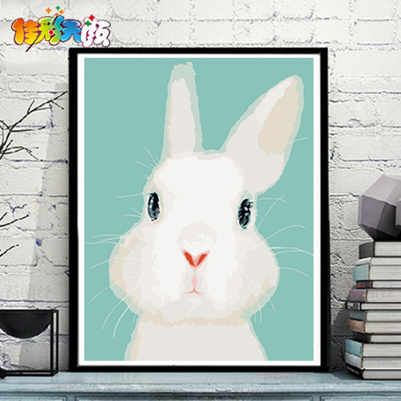 【】diy数字油画儿童卡通动漫动物手绘填色装饰小动物