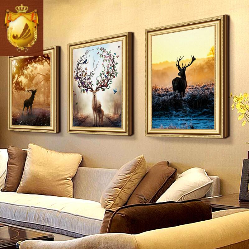 美式客厅装饰画沙发背景餐厅墙画壁画客厅酒店别墅挂画鹿欧式油画褐色