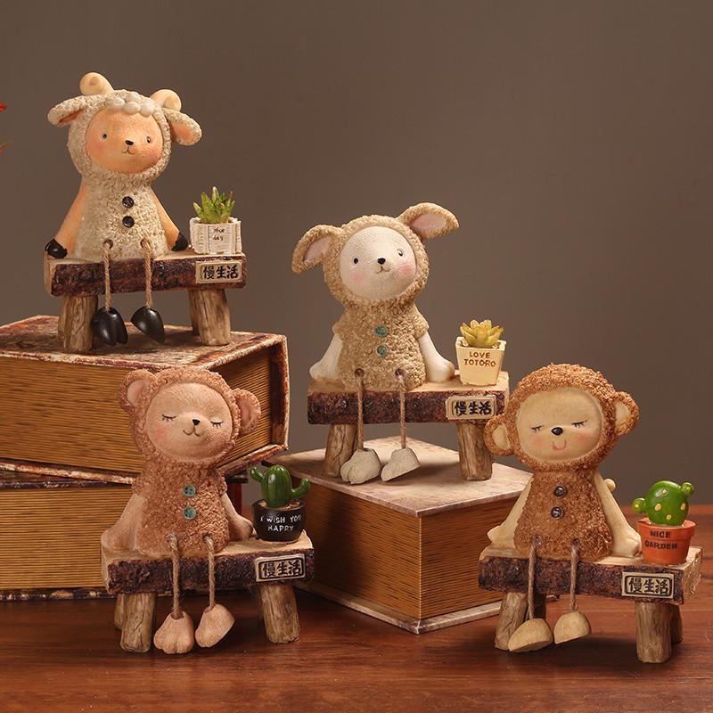 创意田园吊脚工艺品摆件卧室电视机柜搁板可爱动物装饰品摆设礼物