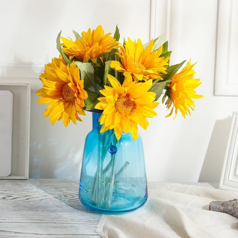 透明玻璃花瓶北欧 大号客厅插花装饰摆件简约玄关水培彩色花瓶