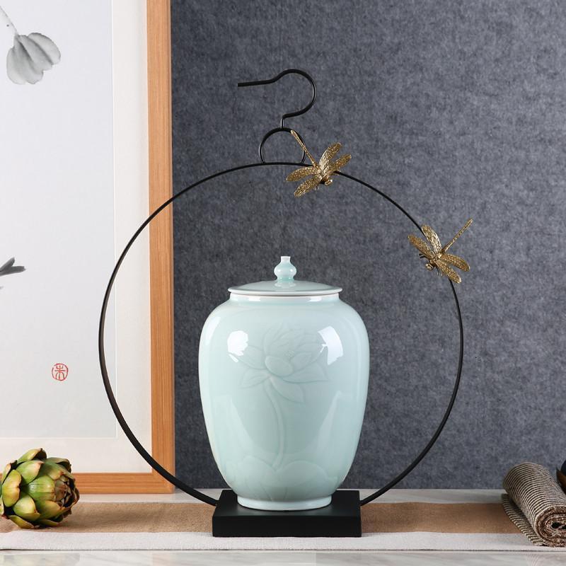 现代新中式客厅玄关电视柜铁艺陶瓷储物罐器皿软装饰品摆件