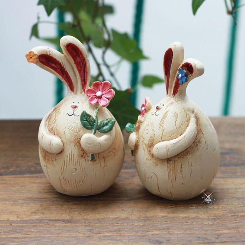 可爱创意工艺品桌面摆件 卧室饰品复古情侣树脂胖兔子一对 树脂兔一对