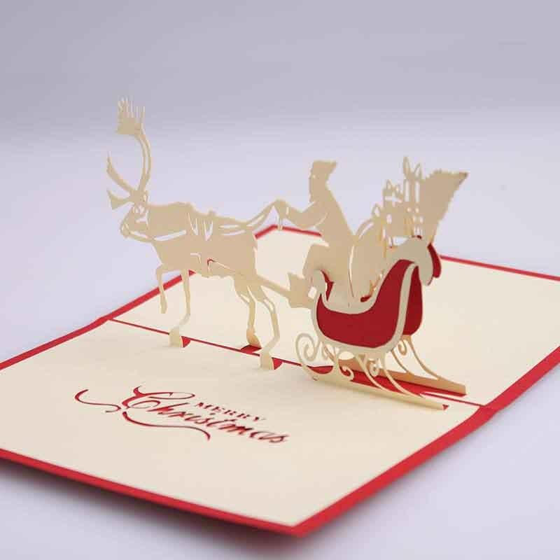 圣诞节3d立体雕花贺卡创意剪纸圣诞鹿车卡片卡通可爱纸雕节日纪念卡